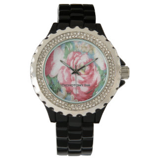 Vintage Barkcloth Floral Wallpaper Wrist Watch
