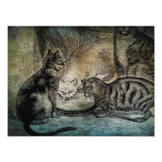 Vintage Barn Cats Personalized Cat Illustration Photo Print