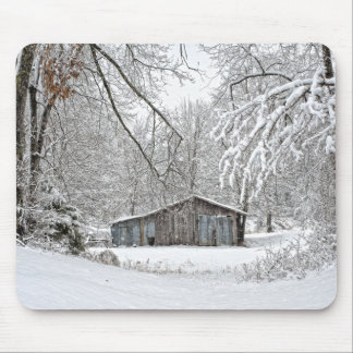 Vintage Barn in Fresh Snow - Rural Tennessee Mouse Pads