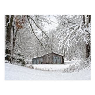 Vintage Barn in Fresh Snow - Rural Tennessee Postcard