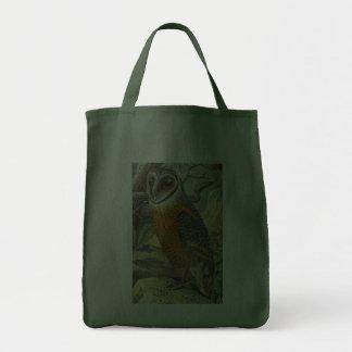 Vintage Barn Owl Painting Canvas Bag