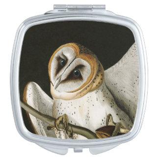 Vintage Barn Owls Illustratation (Audubon) Travel Mirror