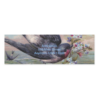 Vintage Barn Swallow and Flowers Mini Business Card