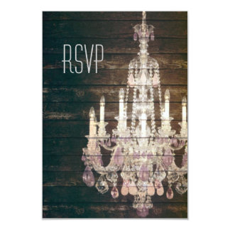 Vintage Barn Wood Chandelier Wedding RSVP response Card