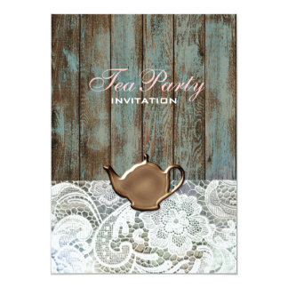 vintage barn wood lace country bridal tea party card