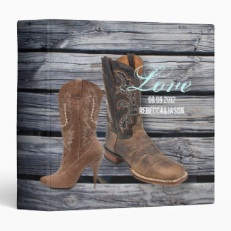 vintage barnwood Cowboy Boots Country wedding 3 Ring Binders
