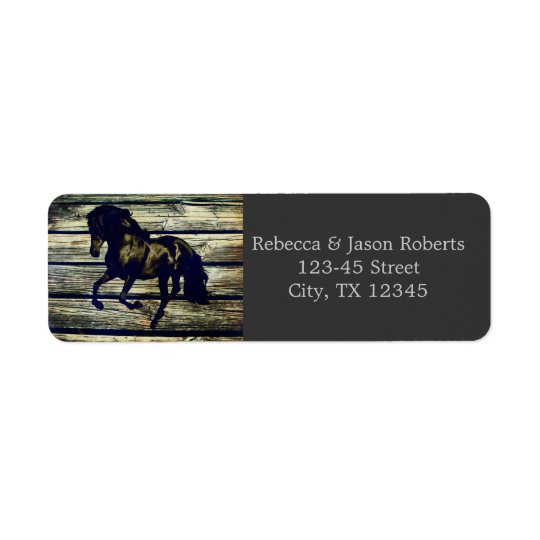 vintage barnwood horses western country wedding return address label