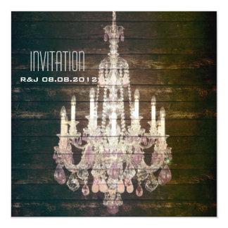 "vintage barnwood purple chandelier wedding 5.25"" square invitation card"