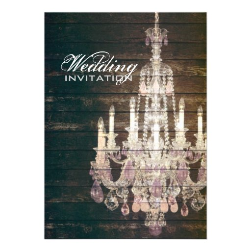 vintage barnwood purple chandelier wedding invite