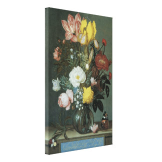 Vintage Baroque, Bouquet of Flowers in Glass Vase Gallery Wrapped Canvas