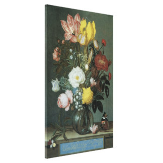 Vintage Baroque, Bouquet of Flowers in Glass Vase Canvas Print