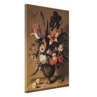 Vintage Baroque, Floral Still Life Flowers in Vase Stretched Canvas Print