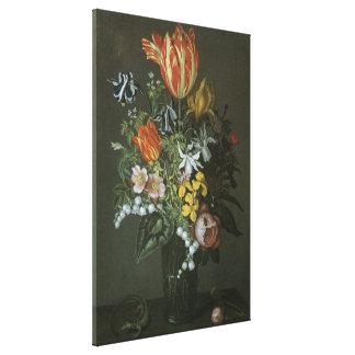 Vintage Baroque, Floral Still Life Flowers in Vase Stretched Canvas Prints