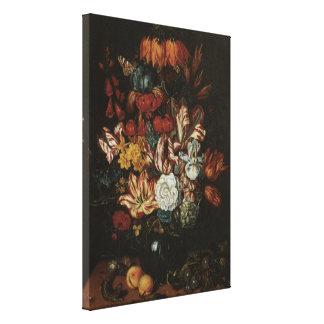 Vintage Baroque, Floral Still Life Flowers in Vase Canvas Prints