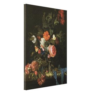 Vintage Baroque Floral Still Life Flowers in Vase Canvas Print