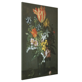 Vintage Baroque, Floral Still Life Flowers in Vase Canvas Print
