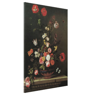 Vintage Baroque Floral Still Life Flowers in Vase Canvas Print