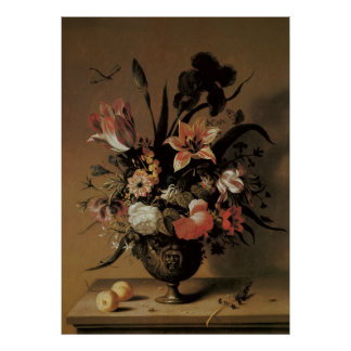 Vintage Baroque, Floral Still Life Flowers in Vase Poster