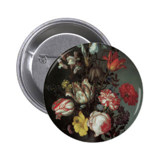 Vintage Baroque Flowers by Balthasar van der Ast 2 Inch Round Button