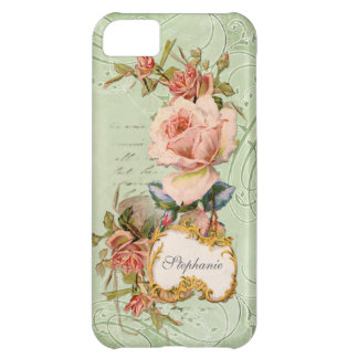 Vintage Baroque Pink Rose Flowers Swirl Floral Case For iPhone 5C