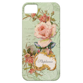 Vintage Baroque Pink Rose Flowers Swirl Floral iPhone 5 Cases