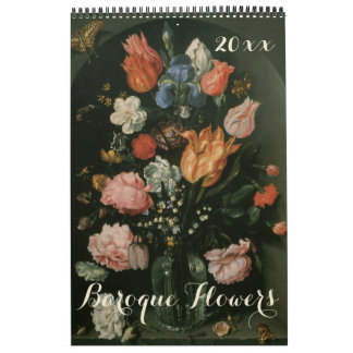 Vintage Baroque Still Life Flowers Art Paintings Wall Calendar