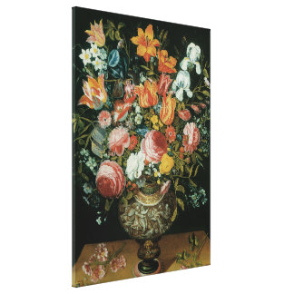 Vintage Baroque Still Life Flowers in a Vase Canvas Print