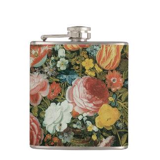 Vintage Baroque Still Life Flowers in a Vase Hip Flask