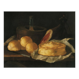 Vintage Baroque Still Life with Bread, Tart, Ham Poster