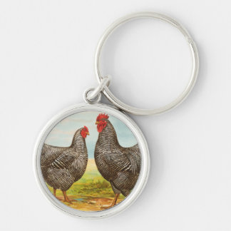 Vintage Barred Plymouth Rock Chickens Keychain
