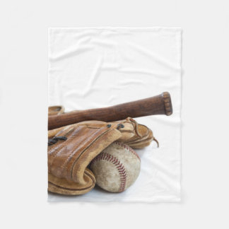 Vintage Baseball and Bat Fleece Blanket