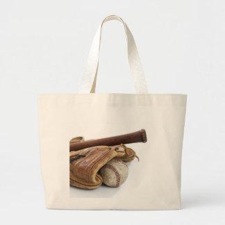 Vintage Baseball and Bat Large Tote Bag