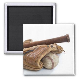 Vintage Baseball and Bat Magnet