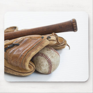 Vintage Baseball and Bat Mouse Pad