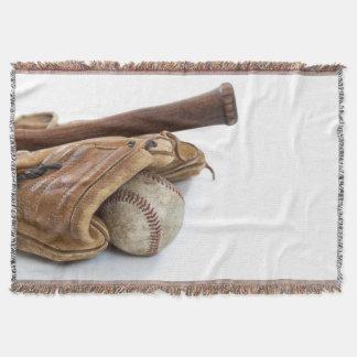 Vintage Baseball and Bat Throw Blanket
