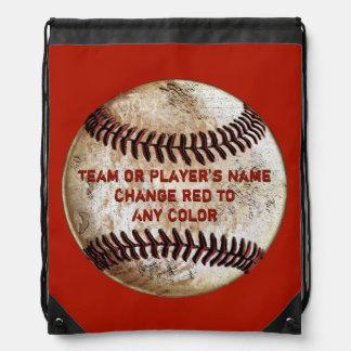 Vintage Baseball Back Packs YOUR TEXT and COLORS Drawstring Bag