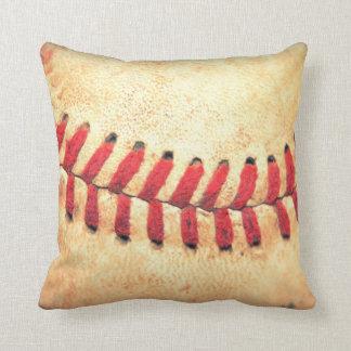 Vintage baseball ball throw pillow