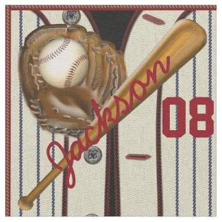 Vintage Baseball Bat Ball Glove Name and Number Fabric