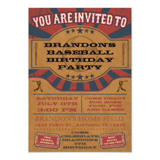 Vintage Baseball Birthday Party Invitation Custom Announcements