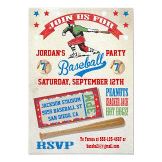 "Vintage Baseball birthday party invitations 5"" X 7"" Invitation Card"