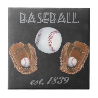 Vintage Baseball Chalkboard Design Tile