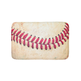 Vintage Baseball Close Up Photo Bathroom Mat