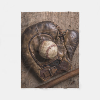 Vintage Baseball Equipment Fleece Blanket