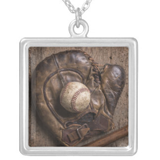 Vintage Baseball Equipment Silver Plated Necklace