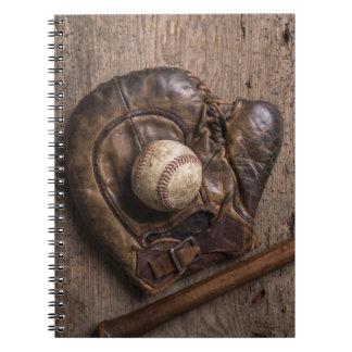 Vintage Baseball Equipment Spiral Notebook