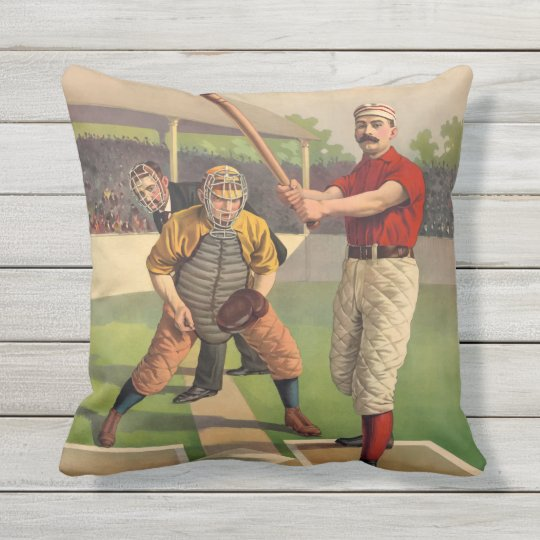 Vintage Baseball Illustration Batter and Catcher Throw Pillow