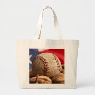 Vintage Baseball Large Tote Bag