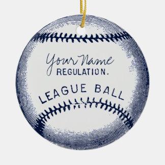 Vintage Baseball, personalized ball Round Ceramic Ornament