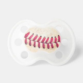 Vintage Baseball Red Stitches Close Up Photo Pacifier