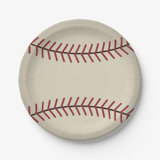 Vintage Baseball Sports Party Paper Plates 7 Inch Paper Plate